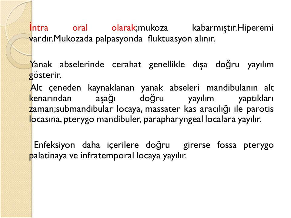 İ ntra oral olarak;mukoza kabarmıştır.Hiperemi vardır.Mukozada palpasyonda fluktuasyon alınır.