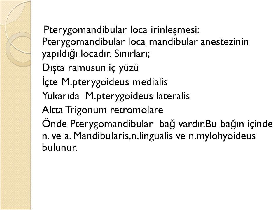 Pterygomandibular loca irinleşmesi: Pterygomandibular loca mandibular anestezinin yapıldı ğ ı locadır.