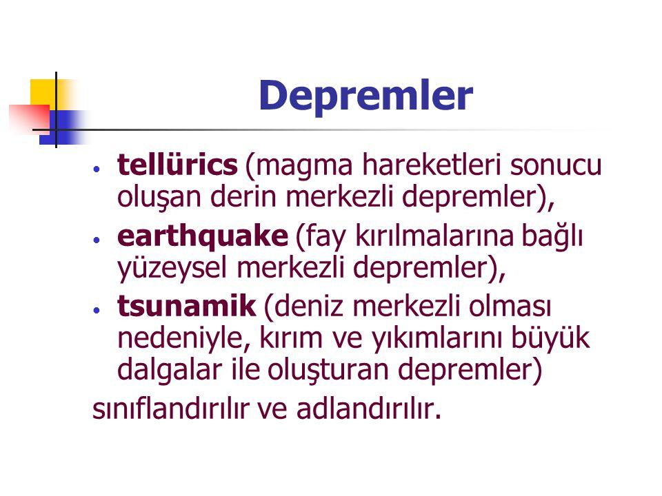 Depremler tellürics (magma hareketleri sonucu oluşan derin merkezli depremler), earthquake (fay kırılmalarına bağlı yüzeysel merkezli depremler), tsun
