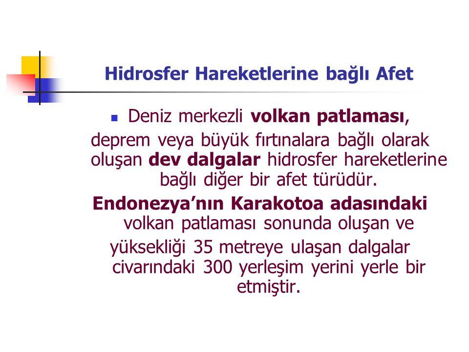 Hidrosfer Hareketlerine bağlı Afet Deniz merkezli volkan patlaması, deprem veya büyük fırtınalara bağlı olarak oluşan dev dalgalar hidrosfer hareketle