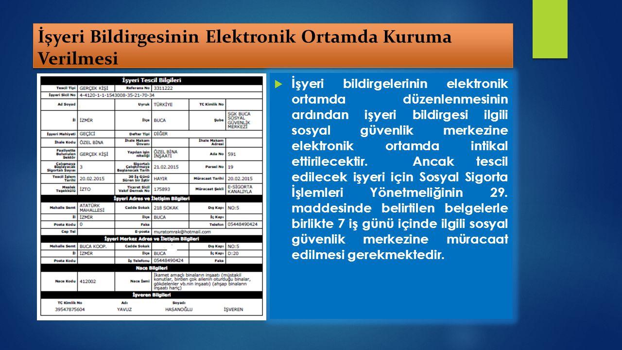 İşyeri Bildirgesinin Elektronik Ortamda Kuruma Verilmesi  İşyeri bildirgelerinin elektronik ortamda düzenlenmesinin ardından işyeri bildirgesi ilgili