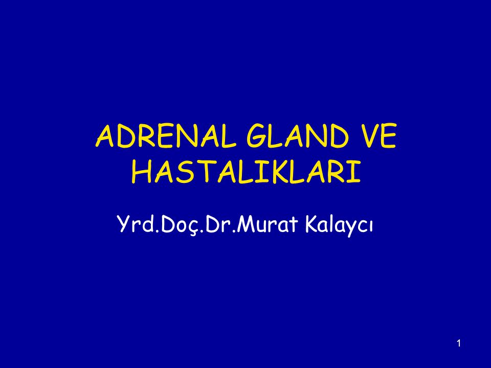 1 ADRENAL GLAND VE HASTALIKLARI Yrd.Doç.Dr.Murat Kalaycı