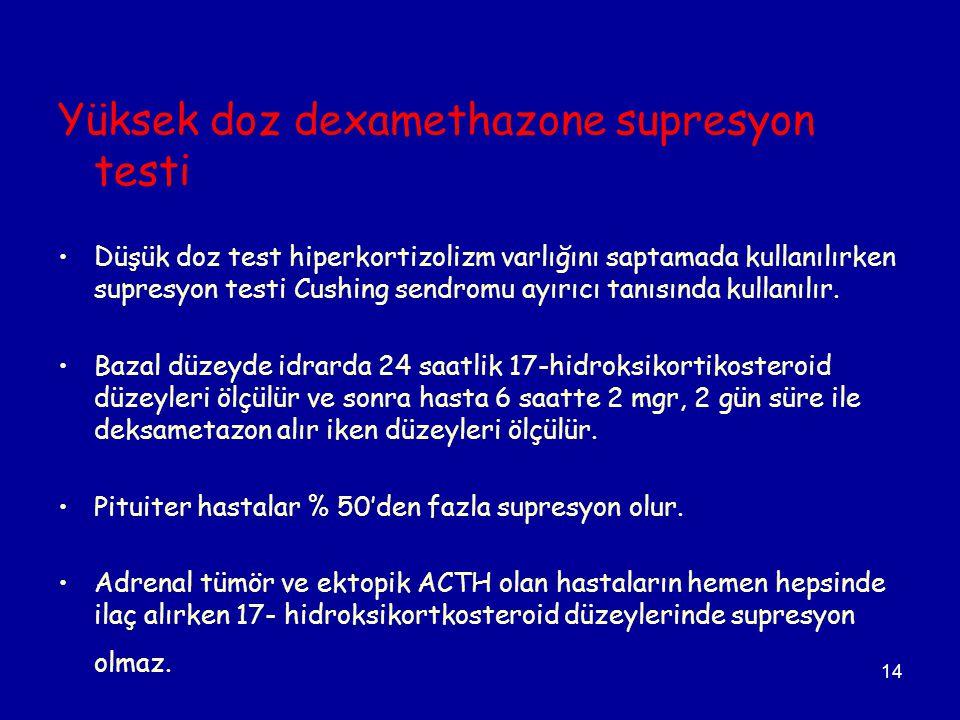 14 Yüksek doz dexamethazone supresyon testi Düşük doz test hiperkortizolizm varlığını saptamada kullanılırken supresyon testi Cushing sendromu ayırıcı