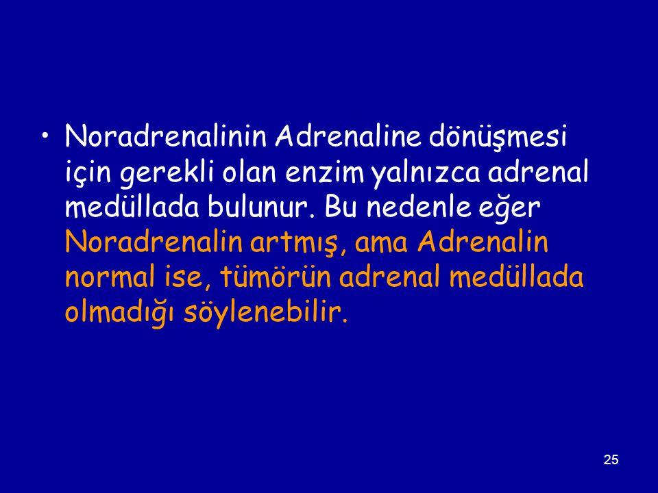 25 Noradrenalinin Adrenaline dönüşmesi için gerekli olan enzim yalnızca adrenal medüllada bulunur. Bu nedenle eğer Noradrenalin artmış, ama Adrenalin