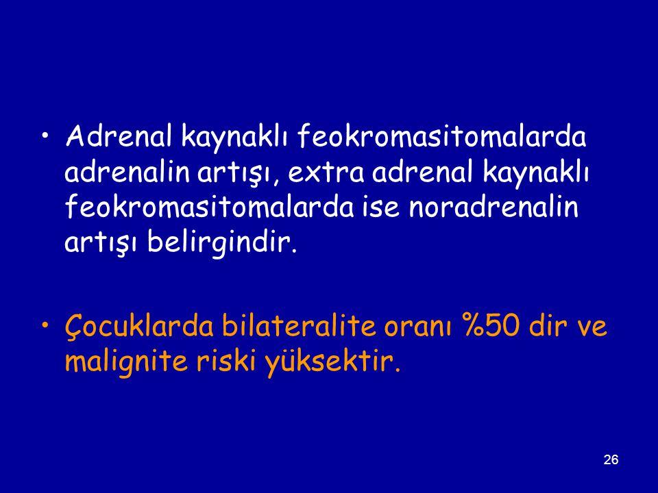 26 Adrenal kaynaklı feokromasitomalarda adrenalin artışı, extra adrenal kaynaklı feokromasitomalarda ise noradrenalin artışı belirgindir. Çocuklarda b