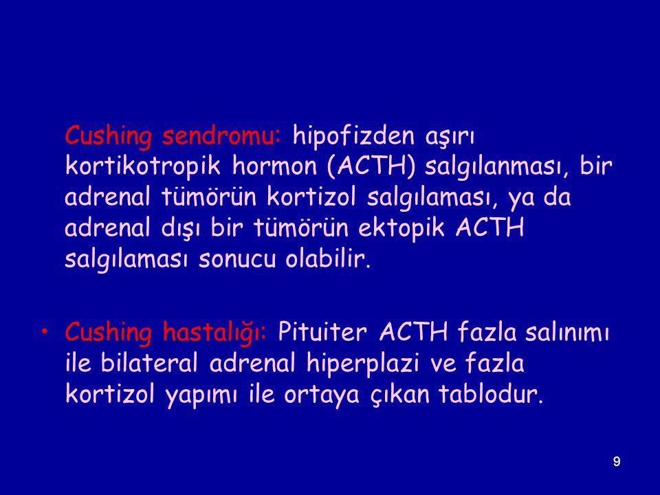 9 Cushing sendromu: hipofizden aşırı kortikotropik hormon (ACTH) salgılanması, bir adrenal tümörün kortizol salgılaması, ya da adrenal dışı bir tümörü