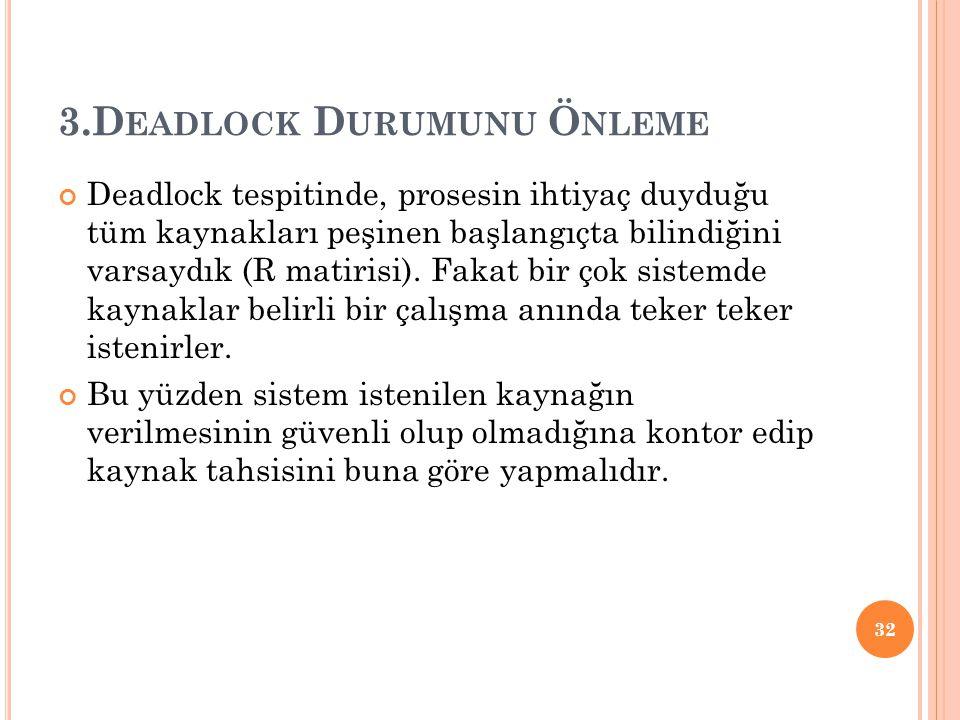 3.D EADLOCK D URUMUNU Ö NLEME Deadlock tespitinde, prosesin ihtiyaç duyduğu tüm kaynakları peşinen başlangıçta bilindiğini varsaydık (R matirisi).