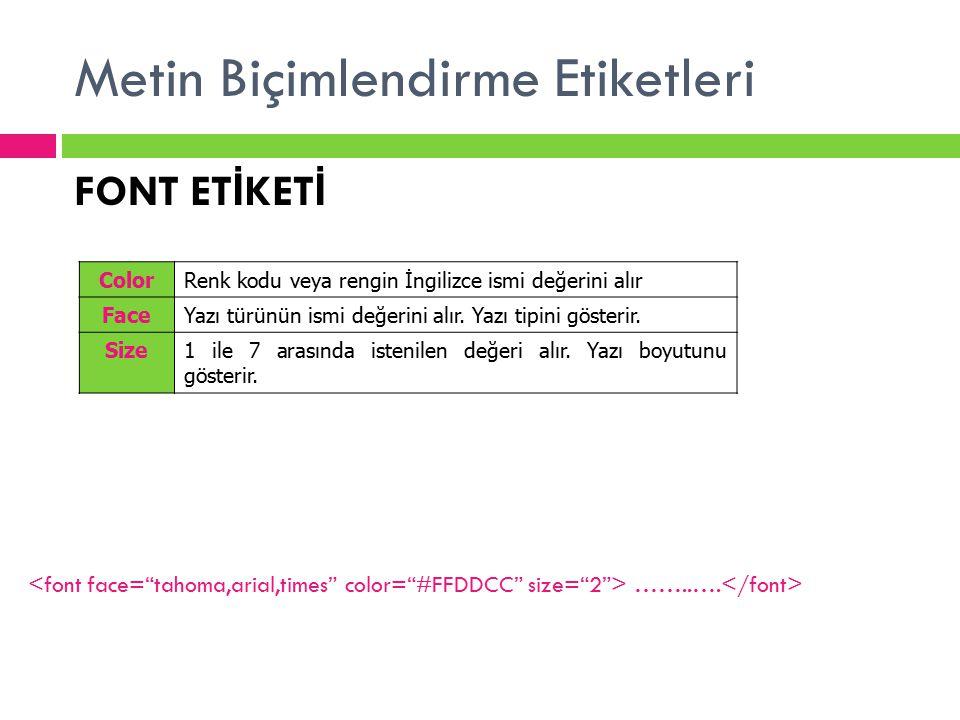 Metin Biçimlendirme Etiketleri ColorRenk kodu veya rengin İngilizce ismi değerini alır FaceYazı türünün ismi değerini alır. Yazı tipini gösterir. Size