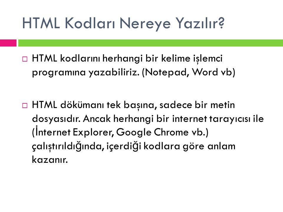 HTML Kodları Nereye Yazılır?  HTML kodlarını herhangi bir kelime işlemci programına yazabiliriz. (Notepad, Word vb)  HTML dökümanı tek başına, sadec