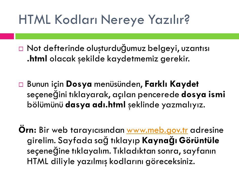 HTML Kodları Nereye Yazılır?  Not defterinde oluşturdu ğ umuz belgeyi, uzantısı.html olacak şekilde kaydetmemiz gerekir.  Bunun için Dosya menüsünde