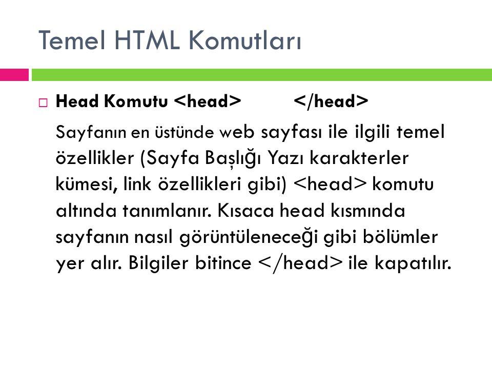 Temel HTML Komutları  Head Komutu Sayfanın en üstünde w eb sayfası ile ilgili temel özellikler (Sayfa Başlı ğ ı Yazı karakterler kümesi, link özellik