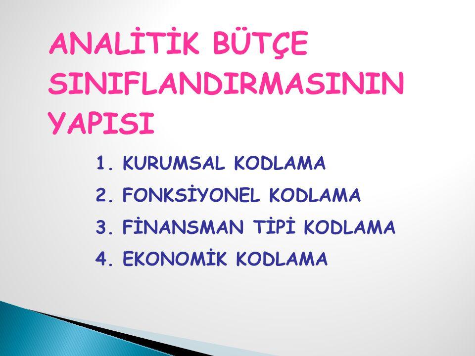 ANALİTİK BÜTÇE SINIFLANDIRMASININ YAPISI 1.KURUMSAL KODLAMA 2.