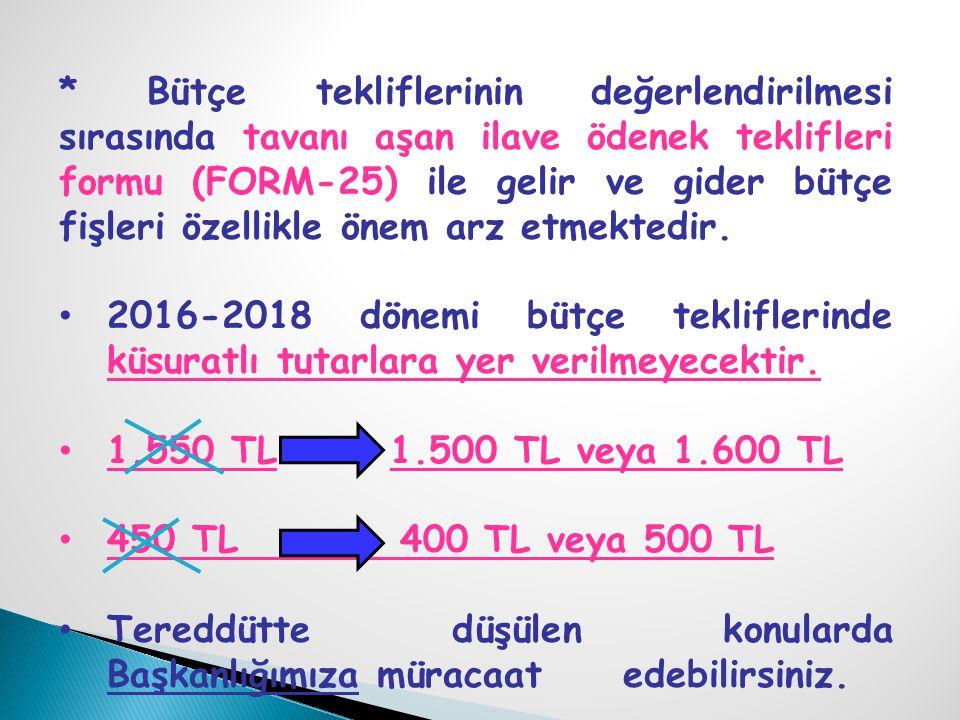 * Bütçe tekliflerinin değerlendirilmesi sırasında tavanı aşan ilave ödenek teklifleri formu (FORM-25) ile gelir ve gider bütçe fişleri özellikle önem