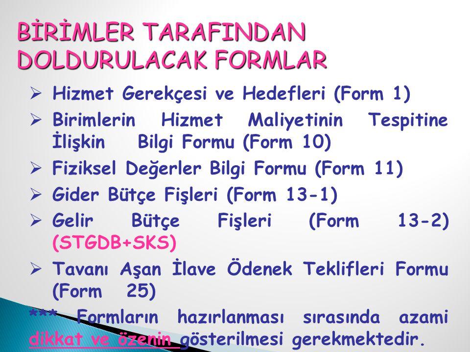 BİRİMLER TARAFINDAN DOLDURULACAK FORMLAR  Hizmet Gerekçesi ve Hedefleri (Form 1)  Birimlerin Hizmet Maliyetinin Tespitine İlişkin Bilgi Formu (Form 10)  Fiziksel Değerler Bilgi Formu (Form 11)  Gider Bütçe Fişleri (Form 13-1)  Gelir Bütçe Fişleri (Form 13-2) (STGDB+SKS)  Tavanı Aşan İlave Ödenek Teklifleri Formu (Form 25) *** Formların hazırlanması sırasında azami dikkat ve özenin gösterilmesi gerekmektedir.