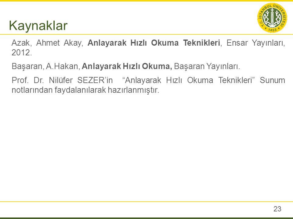 23 Azak, Ahmet Akay, Anlayarak Hızlı Okuma Teknikleri, Ensar Yayınları, 2012. Başaran, A.Hakan, Anlayarak Hızlı Okuma, Başaran Yayınları. Prof. Dr. Ni