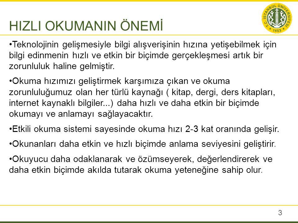 Kültür ve Turizm Bakanlığının yaptırdığı araştırma sonuçlarına göre Türkiye'de okuma hızı ortalaması dakikada160-220 kelimedir.