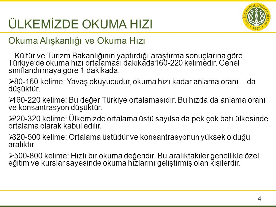 Kültür ve Turizm Bakanlığının yaptırdığı araştırma sonuçlarına göre Türkiye'de okuma hızı ortalaması dakikada160-220 kelimedir. Genel sınıflandırmaya