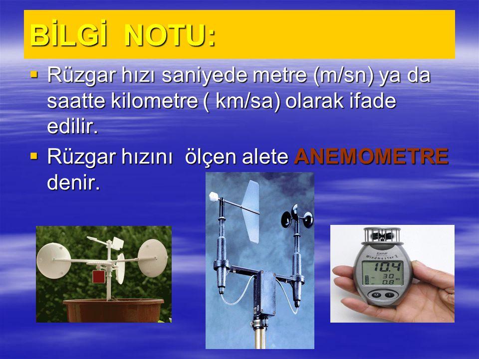 BİLGİ NOTU:  Rüzgar hızı saniyede metre (m/sn) ya da saatte kilometre ( km/sa) olarak ifade edilir.  Rüzgar hızını ölçen alete ANEMOMETRE denir.