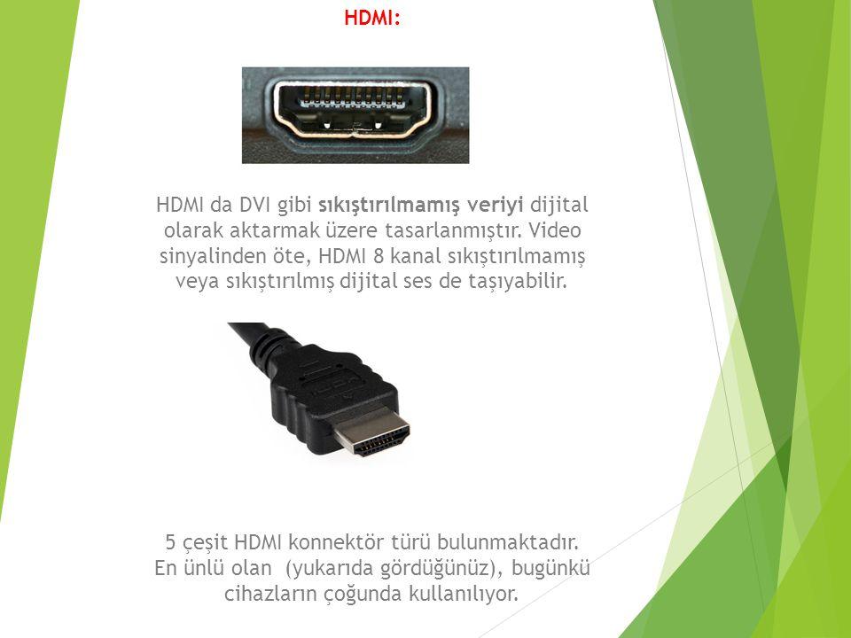 HDMI: HDMI da DVI gibi sıkıştırılmamış veriyi dijital olarak aktarmak üzere tasarlanmıştır. Video sinyalinden öte, HDMI 8 kanal sıkıştırılmamış veya s