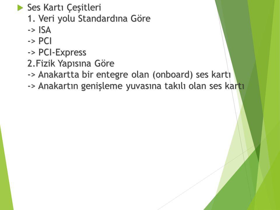  Ses Kartı Çeşitleri 1. Veri yolu Standardına Göre -> ISA -> PCI -> PCI-Express 2.Fizik Yapısına Göre -> Anakartta bir entegre olan (onboard) ses kar