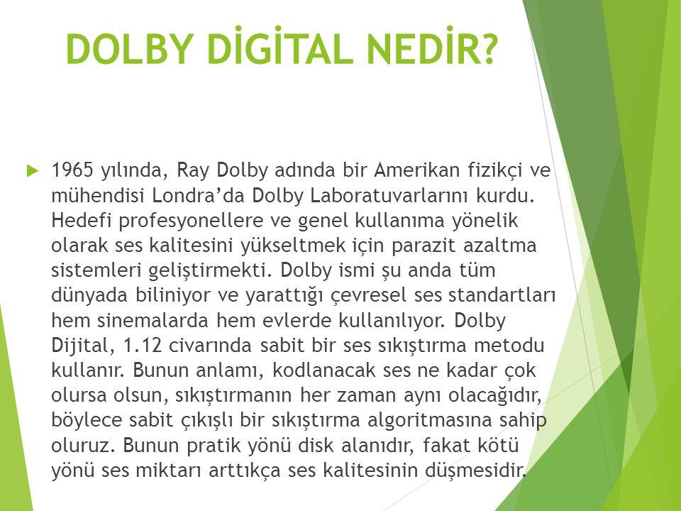 DOLBY DİGİTAL NEDİR?  1965 yılında, Ray Dolby adında bir Amerikan fizikçi ve mühendisi Londra'da Dolby Laboratuvarlarını kurdu. Hedefi profesyoneller