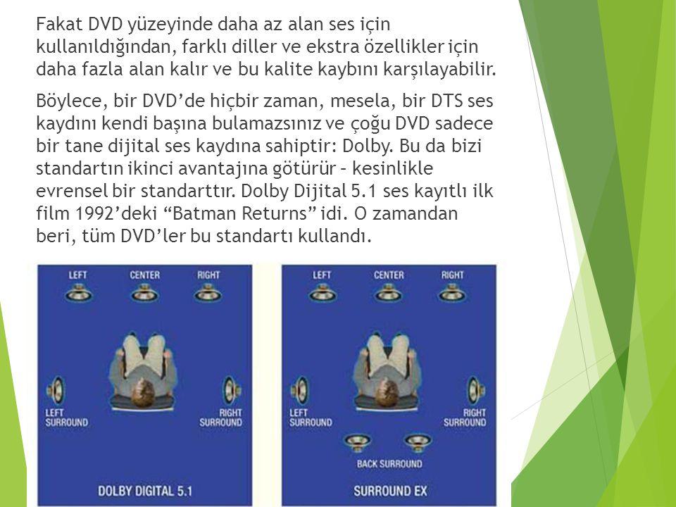 Fakat DVD yüzeyinde daha az alan ses için kullanıldığından, farklı diller ve ekstra özellikler için daha fazla alan kalır ve bu kalite kaybını karşıla