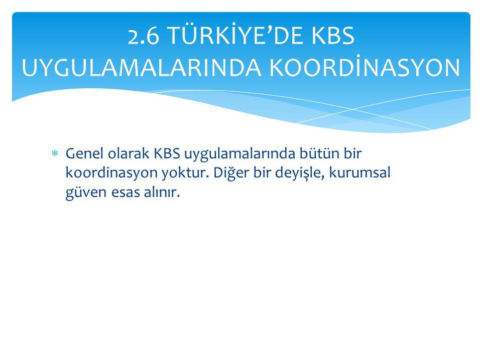  Genel olarak KBS uygulamalarında bütün bir koordinasyon yoktur.