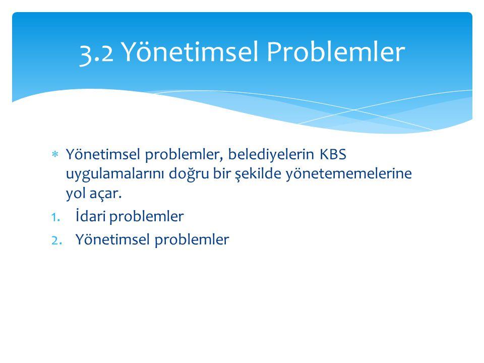  Yönetimsel problemler, belediyelerin KBS uygulamalarını doğru bir şekilde yönetememelerine yol açar.