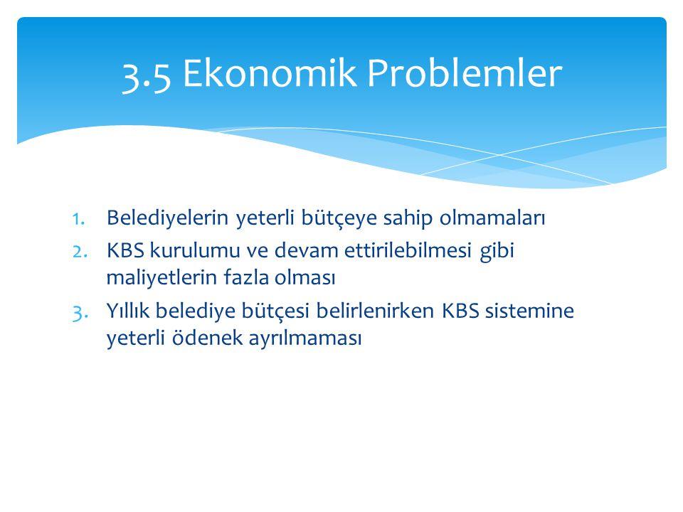 1.Belediyelerin yeterli bütçeye sahip olmamaları 2.KBS kurulumu ve devam ettirilebilmesi gibi maliyetlerin fazla olması 3.Yıllık belediye bütçesi belirlenirken KBS sistemine yeterli ödenek ayrılmaması 3.5 Ekonomik Problemler