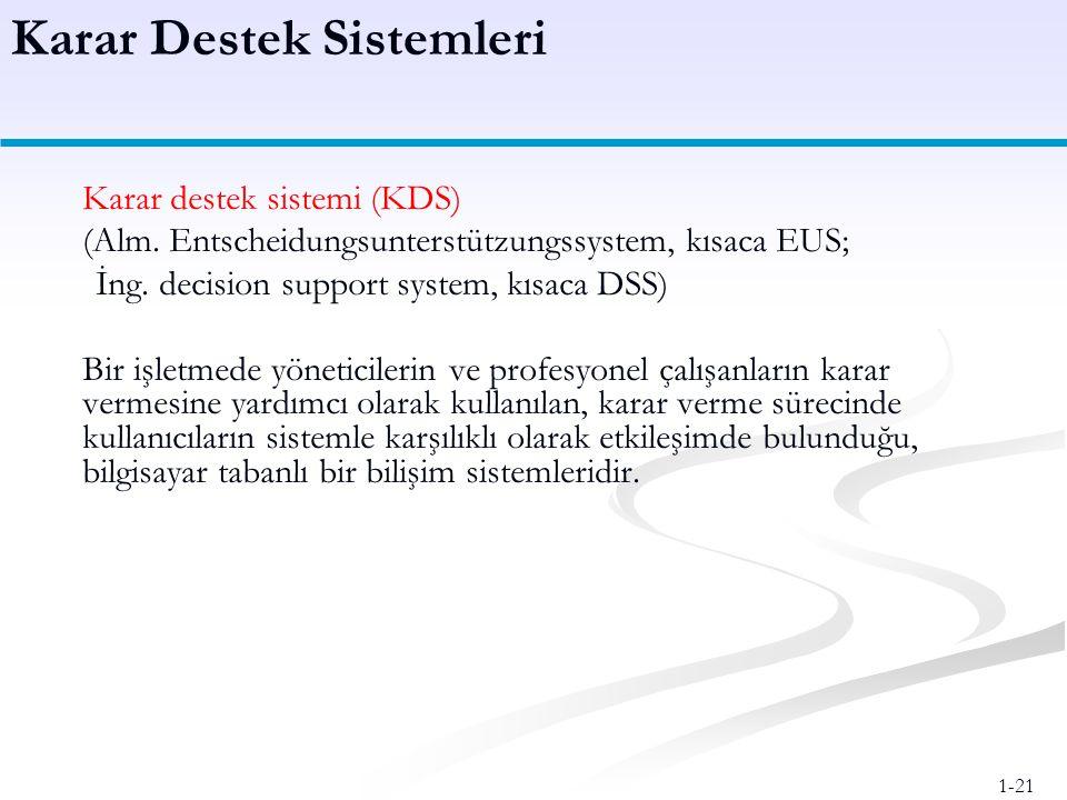 1-21 Karar destek sistemi (KDS) (Alm.Entscheidungsunterstützungssystem, kısaca EUS; İng.