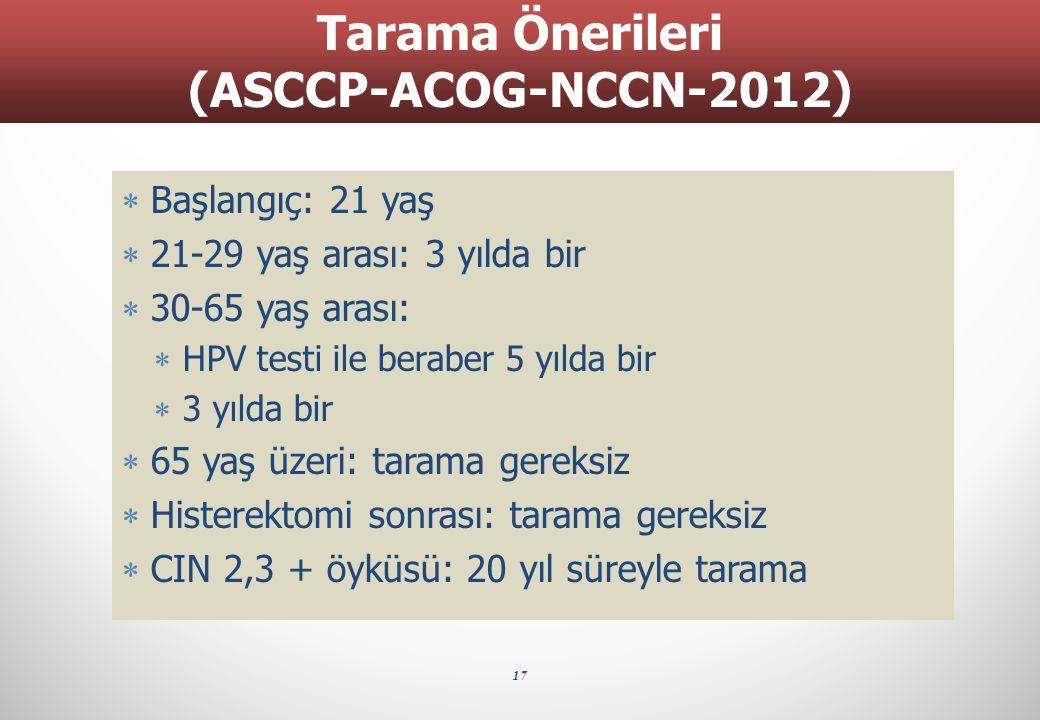  Başlangıç: 21 yaş  21-29 yaş arası: 3 yılda bir  30-65 yaş arası:  HPV testi ile beraber 5 yılda bir  3 yılda bir  65 yaş üzeri: tarama gereksi