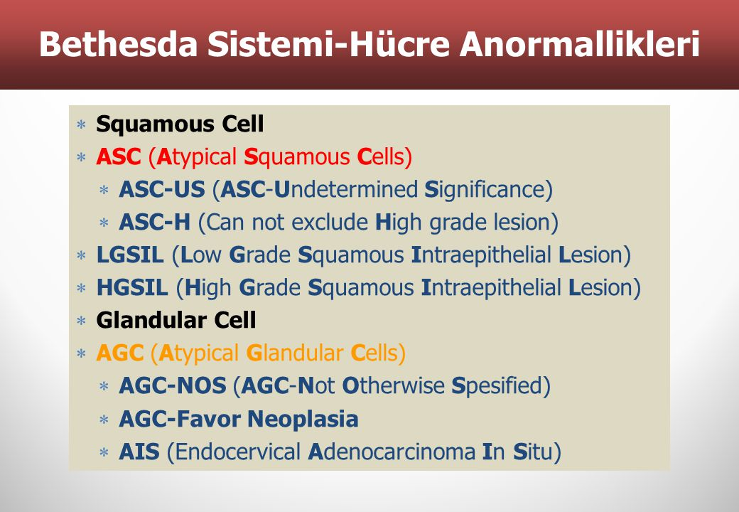 Tanımlar  Squamous Cell  ASC (Atypical Squamous Cells)  ASC-US (ASC-Undetermined Significance)  ASC-H (Can not exclude High grade lesion)  LGSIL