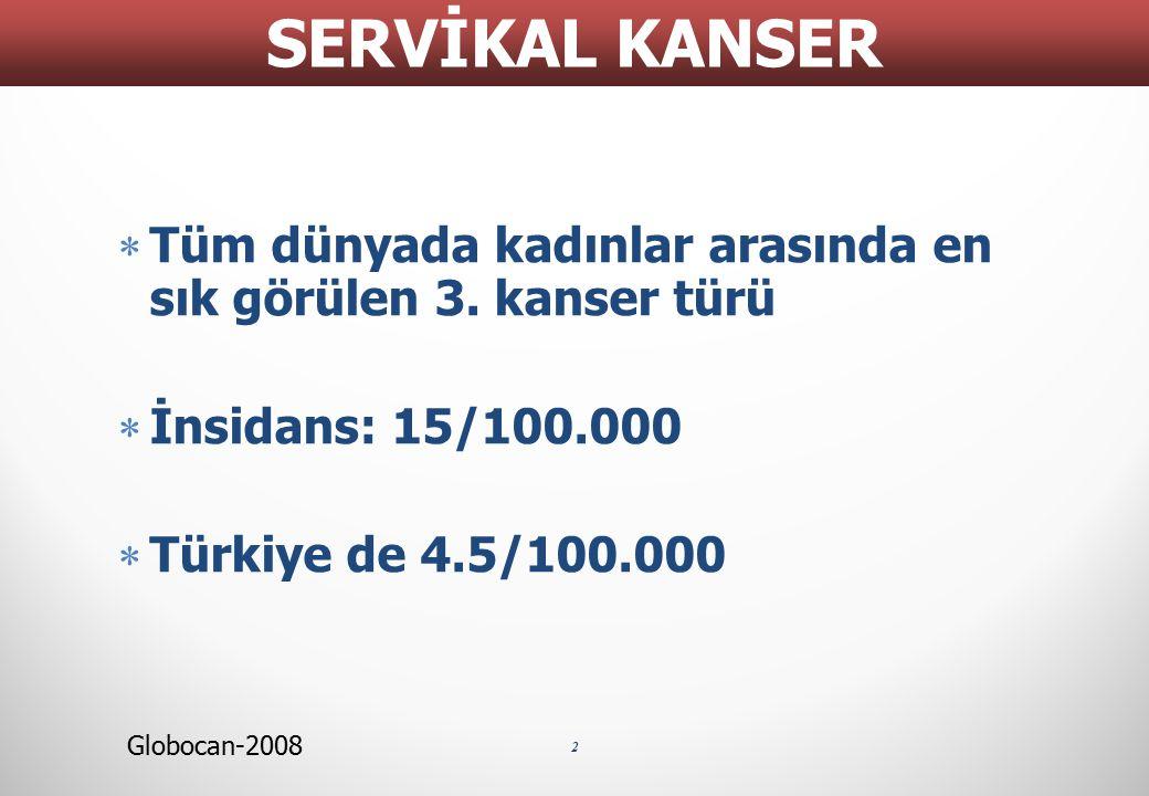  Tüm dünyada kadınlar arasında en sık görülen 3. kanser türü  İnsidans: 15/100.000  Türkiye de 4.5/100.000 2 SERVİKAL KANSER Globocan-2008