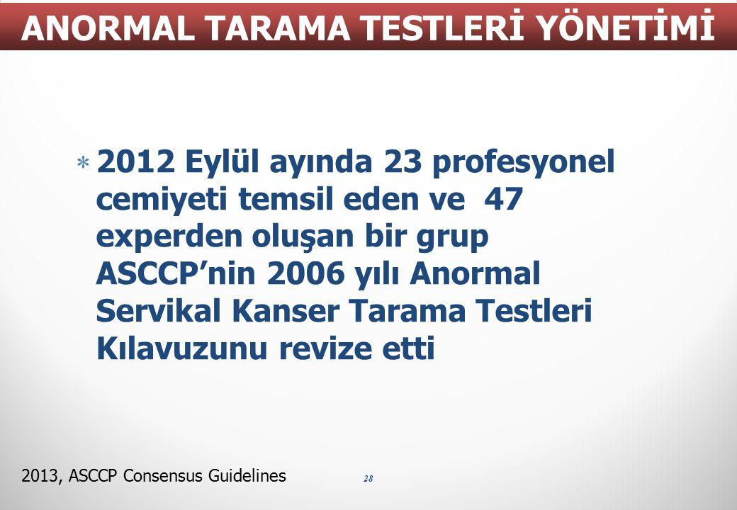  2012 Eylül ayında 23 profesyonel cemiyeti temsil eden ve 47 experden oluşan bir grup ASCCP'nin 2006 yılı Anormal Servikal Kanser Tarama Testleri Kıl