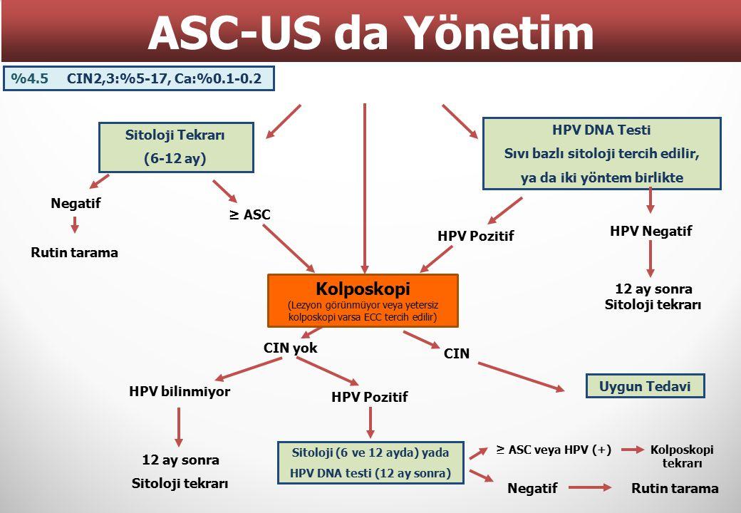 Sitoloji Tekrarı (6-12 ay) HPV DNA Testi Sıvı bazlı sitoloji tercih edilir, ya da iki yöntem birlikte Negatif ≥ ASC Rutin tarama HPV Pozitif HPV Negat