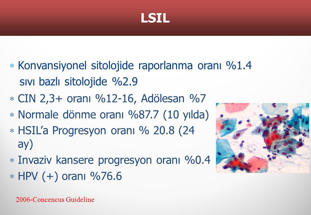 LSIL 2006-Concencus Guideline  CIN 2,3+ oranı %12-16, Adölesan %7  Normale dönme oranı %87.7 (10 yılda)  HSIL'a Progresyon oranı % 20.8 (24 ay)  I