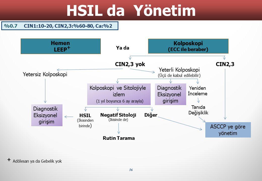 56 HSIL da Yönetim Hemen LEEP Ya da Kolposkopi (ECC ile beraber) + + Adölesan ya da Gebelik yok CIN2,3 yokCIN2,3 Diagnostik Eksizyonel girişim ASCCP y