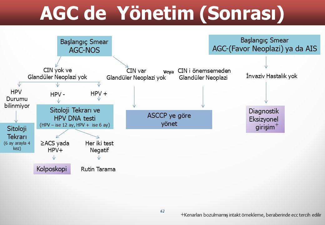 62 AGC de Yönetim (Sonrası) Başlangıç Smear AGC-NOS Başlangıç Smear AGC-(Favor Neoplazi) ya da AIS İnvaziv Hastalık yok Diagnostik Eksizyonel girişim
