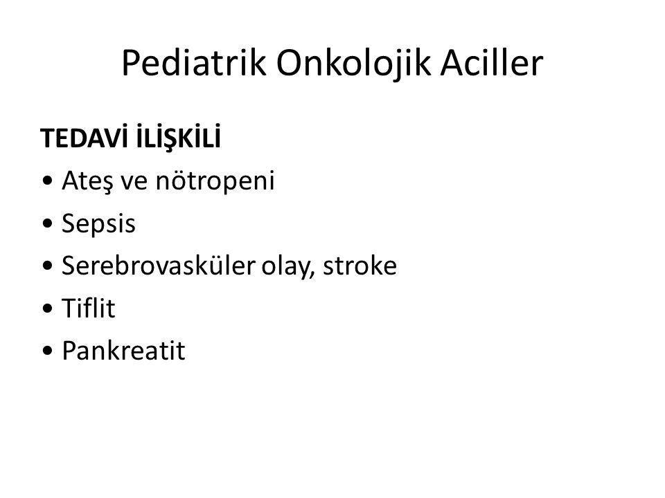 Pediatrik Onkolojik Aciller TEDAVİ İLİŞKİLİ Ateş ve nötropeni Sepsis Serebrovasküler olay, stroke Tiflit Pankreatit