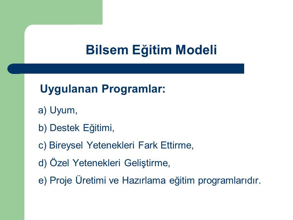Bilsem Eğitim Modeli Uygulanan Programlar: a) Uyum, b) Destek Eğitimi, c) Bireysel Yetenekleri Fark Ettirme, d) Özel Yetenekleri Geliştirme, e) Proje