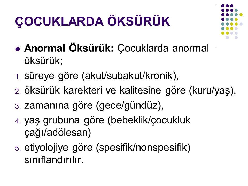 ÇOCUKLARDA ÖKSÜRÜK Anormal Öksürük: Çocuklarda anormal öksürük; 1. süreye göre (akut/subakut/kronik), 2. öksürük karekteri ve kalitesine göre (kuru/ya