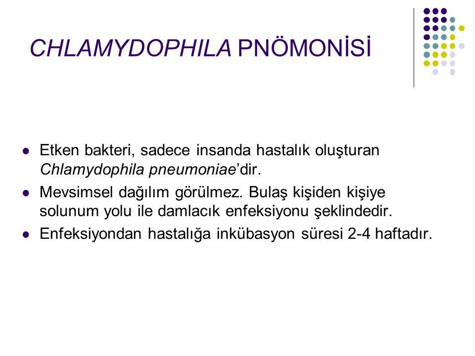 Etken bakteri, sadece insanda hastalık oluşturan Chlamydophila pneumoniae'dir. Mevsimsel dağılım görülmez. Bulaş kişiden kişiye solunum yolu ile damla