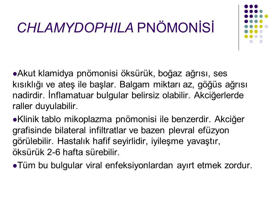 Akut klamidya pnömonisi öksürük, boğaz ağrısı, ses kısıklığı ve ateş ile başlar. Balgam miktarı az, göğüs ağrısı nadirdir. İnflamatuar bulgular belirs