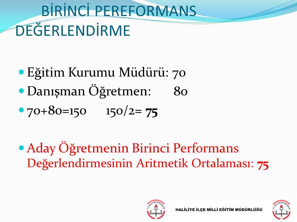 BİRİNCİ PEREFORMANS DEĞERLENDİRME Eğitim Kurumu Müdürü: 70 Danışman Öğretmen: 80 70+80=150 150/2= 75 Aday Öğretmenin Birinci Performans Değerlendirmes