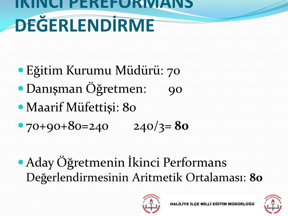Eğitim Kurumu Müdürü: 70 Danışman Öğretmen: 90 Maarif Müfettişi: 80 70+90+80=240 240/3= 80 Aday Öğretmenin İkinci Performans Değerlendirmesinin Aritme