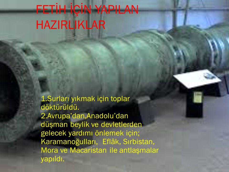 1.Surları yıkmak için toplar döktürüldü. 2.Avrupa'dan,Anadolu'dan düşman beylik ve devletlerden gelecek yardımı önlemek için; Karamanoğulları, Eflâk,