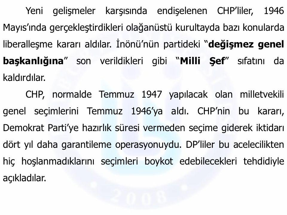 Yeni gelişmeler karşısında endişelenen CHP'liler, 1946 Mayıs'ında gerçekleştirdikleri olağanüstü kurultayda bazı konularda liberalleşme kararı aldılar