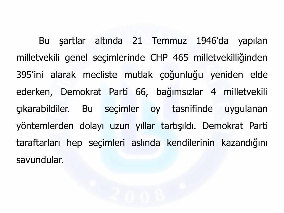Bu şartlar altında 21 Temmuz 1946'da yapılan milletvekili genel seçimlerinde CHP 465 milletvekilliğinden 395'ini alarak mecliste mutlak çoğunluğu yeni