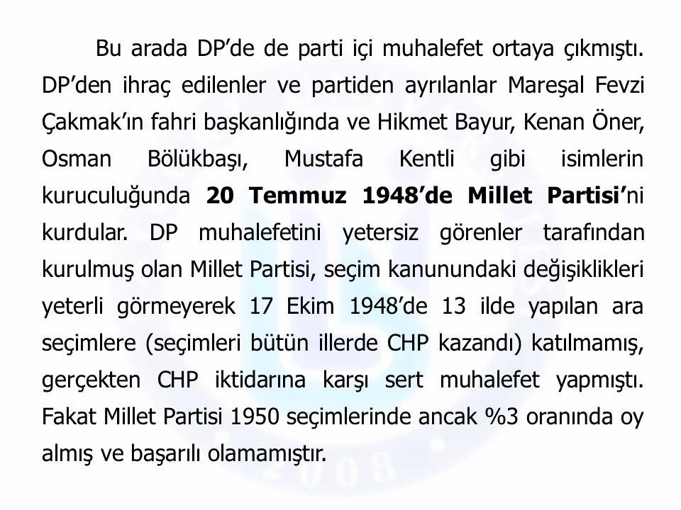 Bu arada DP'de de parti içi muhalefet ortaya çıkmıştı. DP'den ihraç edilenler ve partiden ayrılanlar Mareşal Fevzi Çakmak'ın fahri başkanlığında ve Hi