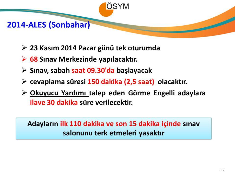37  23 Kasım 2014 Pazar günü tek oturumda  68 Sınav Merkezinde yapılacaktır.  Sınav, sabah saat 09.30'da başlayacak  cevaplama süresi 150 dakika (
